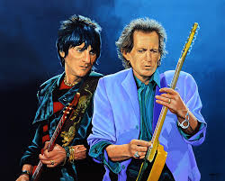 wood and keith richards painting by paul meijering