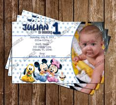 Birthday Invitation Card For 1st Birthday Novel Concept Designs Disney Baby Mickey 1st Birthday Invitation