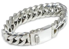 solid sterling silver mens bracelet images Sterling silver mens very unusual triangular link chunky bracelet jpg