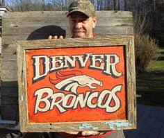 yes denver broncos hand painted barn wood sign sports by