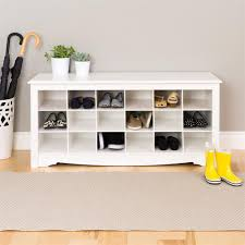 Overstock White Bookcase by Prepac Entryway Shoe Storage Cubbie Bench White Wss 4824