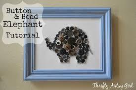 easy diy button and bead elephant nursery wall art thrifty artsy