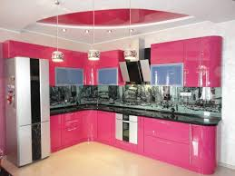 Kitchen Island Storage Design Beautiful Feminine Color Kitchen Design With Pink Cabinet Storage