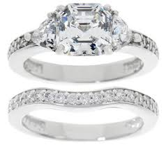 bridal ring set diamonique 2 90 cttw asscher bridal ring set platinum clad page