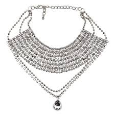 bib necklace crystal images Vintage crystal choker bib necklace brilliant hippie jpg