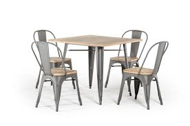 modern square dining table t 14005 modern grey metal and wood square dining table