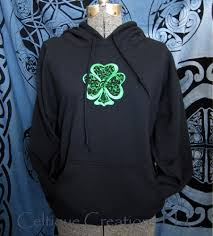 extra large shamrock hooded sweatshirt black hoodie green