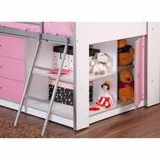 savannah storage loft bed with desk white and pink dhi savannah storage loft bed with desk white pink box 1 of 3