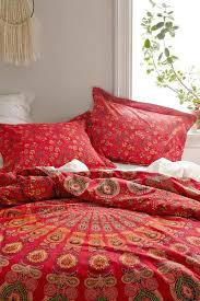 duvet covers boho bohemian red life flower queen duvet cover 3 set