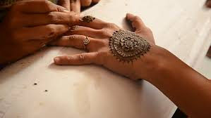 getting a henna tattoo tel aviv 22 01 2017 stock footage