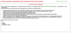 kitchen steward stewardess work experience certificate