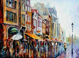 amsterdam u0027s rain u2014 palette knife oil painting on canvas by leonid
