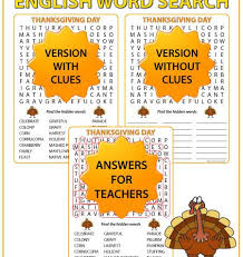 thanksgiving day word search in