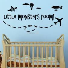 kids room interior wall decoration with kid wall decals for full size of black vinyl little monsters room wall quote decals blue accent painted wall ivory