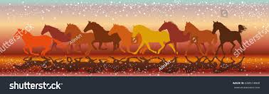vector illustration colorful background silhouettes horses stock