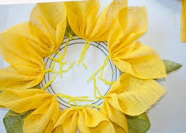 burlap sunflower wreath how to make a burlap sunflower wreath clumsy crafter
