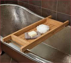 wood bathtub caddy with reading rack home design ideas