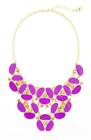 purple necklace chain images Purple pansy bib necklace gold tone flower statement necklace by jpg