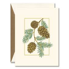 Christmas Cards Invitation Pine Cones Boxed Holiday Greeting Cards