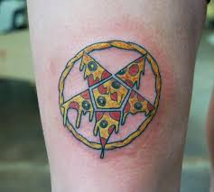 nice pizza pentagram tattoo on thigh real photo pictures images