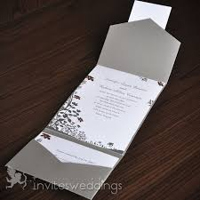 silver wedding invitations simple floral silver pocket wedding invitations iwps053 wedding