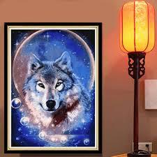 Wohnzimmer Deko Strass 5d Diy Diamant Malerei Kreuzstich Wolf Rosenbohrer Diamant
