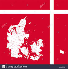 very detailed outline map of denmark in colors of the danish flag