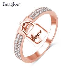 aliexpress buy beagloer new arrival ring gold beagloer new gold color micro pave cubic zircon lock with