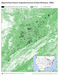 Surface Map Appalachian Forests Impacted By Coal Surface Mining C 2005