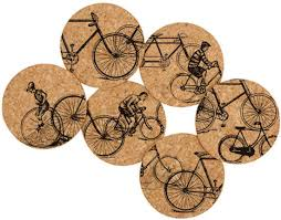 cork coasters bicycle gift hub antique bicycles cork coaster set kitchen bath