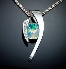 opal october opal necklace white sapphires october birthstone statement