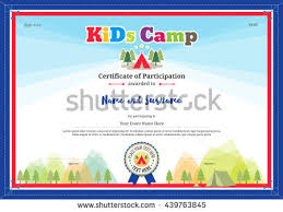 colorful modern certificate participation template kids stock