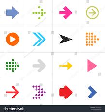 Contemporary Colors 16 Arrow Pictogram Set Simple Sign Stock Vector 120203416