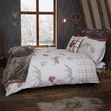 Christmas Duvet Covers Uk Woodland Animals Terracotta Brushed Cotton Christmas Duvet Set