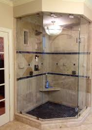 bathroom neo angle shower with buil in corner bench and hanging