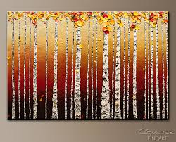 birch trees abstract art painting image by carmen guedez
