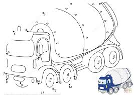 cartoon cement mixer 1 15 dot to dot free printable coloring pages