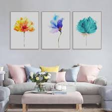 Livingroom Art 2017 Original Watercolor Beautiful Colorful Flower Canvas A4 Art