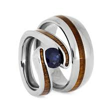 wedding rings set wood ring set titanium wedding rings with koa wood 2668