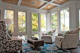 swivel glider chair sunroom traditional with coffered ceiling
