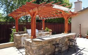 pergola winning gazebo outdoor kitchen string lighting brown