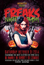 freaks night halloween party flyer awesomeflyer com