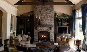 living room beautiful simple craftsman living room with stone