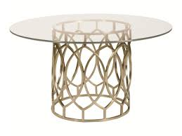bernhardt salon dining table with glass top and geometric metal