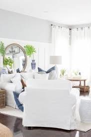 Coastal Homes Decor White Slipcovered Sofa Large Mirror Living Room All White