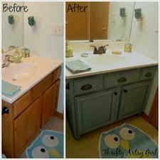 Painting Bathroom Cabinets Ideas by Builders Grade Teal Bathroom Vanity Upgrade For Only 60 Builder