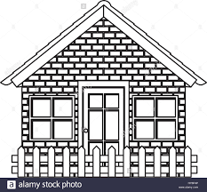 silhouette comfortable facade house with brick wall and wooden