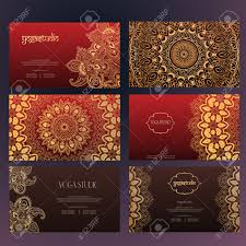 Indian Invitation Card Set Of Business Card And Invitation Card Templates With Lace