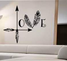 Bedroom Wall Stickers Sayings Arrow Feather Love Wall Decal Namaste Vinyl Sticker Art Decor