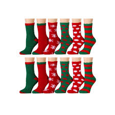 wholesale christmas 120 units of christmas print fuzzy crew socks at